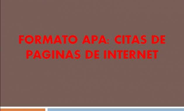 Formato APA Citas de Paginas de Internet