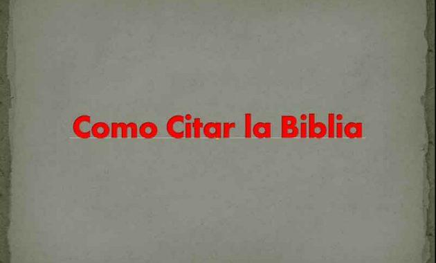 Como Citar la Biblia
