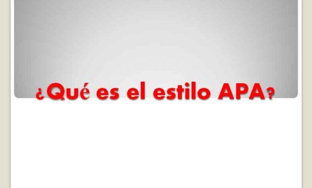 ¿Qué es el estilo APA?