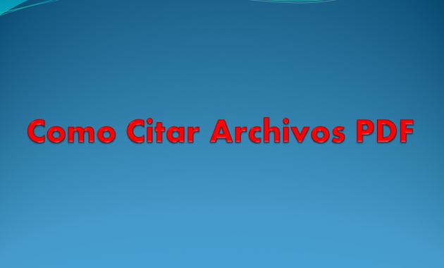 Como Citar Archivos PDF